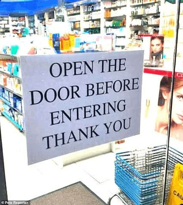 One shop owner who is fed up with customers walking into their clear door, displayed a sign reminding customers to open the door before entering