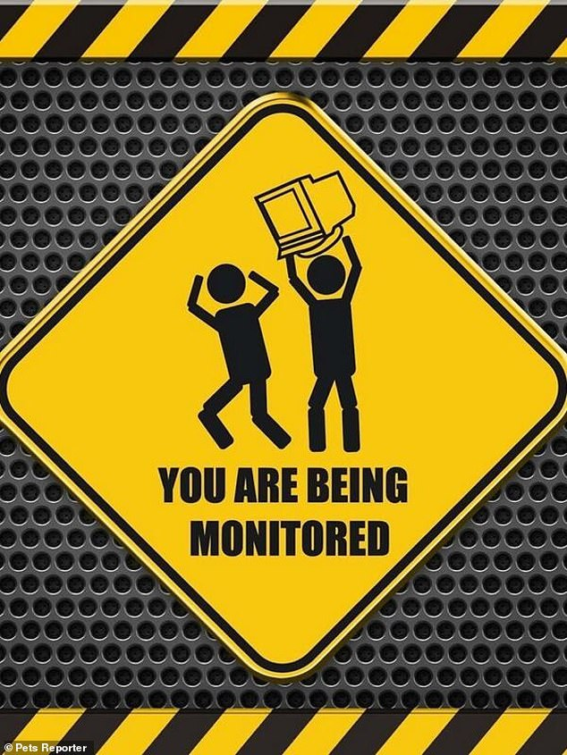 Use at your own peril! A sign displayed on a computer warns users they're being watched with a hilarious illustration of a computer monitor