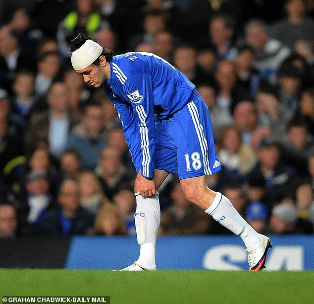 A bandaged Yuri Zhirkov soldiers on during a match against Bolton Wanderers in April 2010