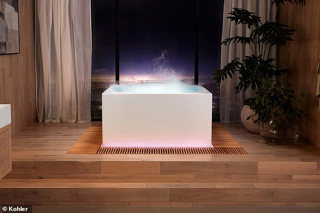 In the fully-loaded 'Infinity Experience' model, water fills from the bottom of the Stillness Bath tub and overflows into a cypress wood moat, creating a relaxing soundscape