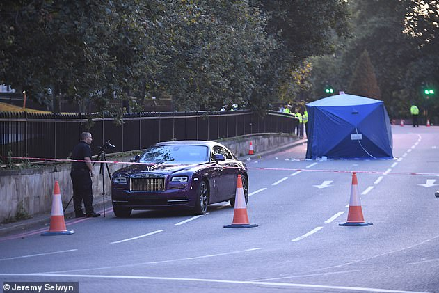 A purple Rolls Royce car was seen inside the curb after the accident in August 2019