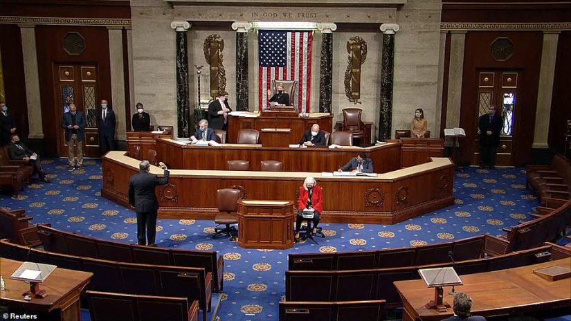 House move: Democrats brought a 'unanimous consent' measure to the floor calling for Mike Pence to use the 25th Amendment but Republicans objected, meaning Democrats will force a vote on it Tuesday which would be likely to be followed by an impeachment vote Wednesday