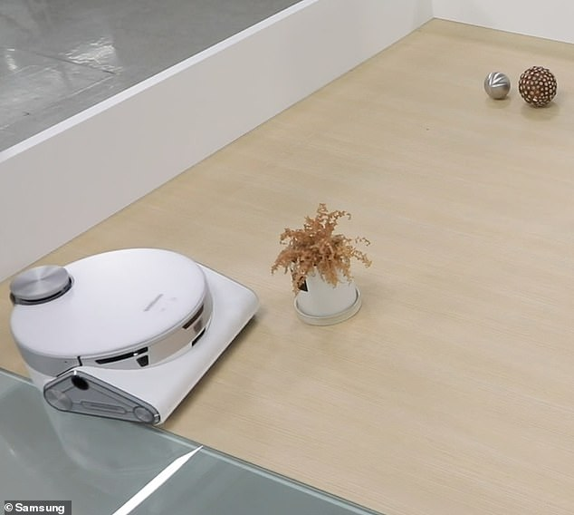 According to Samsung, the 3D sensors on the JetBot 90 AI+ are sophisticated enough to know which objects it can bump up against, like a kid's toy or table leg, and which to give a wide berth to, like a plant or pet poop