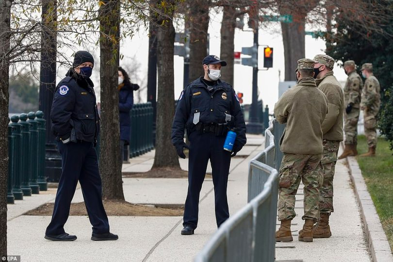 Capitol Police are working together with National Guardsmen to patrol the area surrounding Capitol Hill
