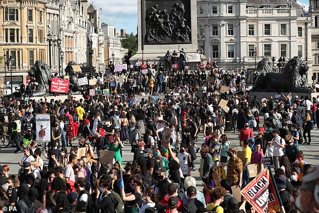 It comes after statues and their role in public life were thrown into the spotlight amid the global Black Lives Matter movement (protests in London in June 2020, pictured)