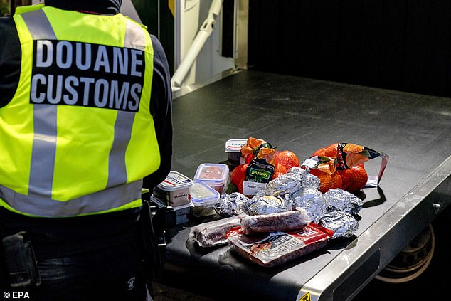Dutch customs confiscate dozens of sandwiches and packets of meat from people arriving via ferry from the United Kingdom at Hook of Holland