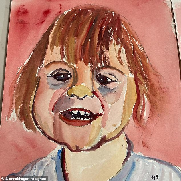 Precious: Jenna Bush Hager has revealed the portraits her father, George W. Bush, painted of her one-year-old son Hal