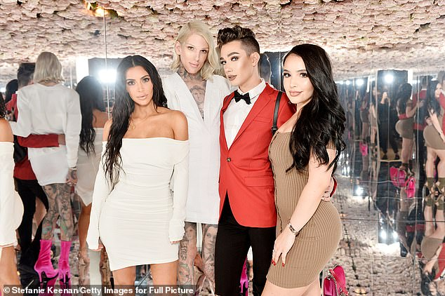 Flashback: Jeffree attended Kim's KKW Beauty launch in 2017 with them posing for photos with James Charles and Amanda Ensing