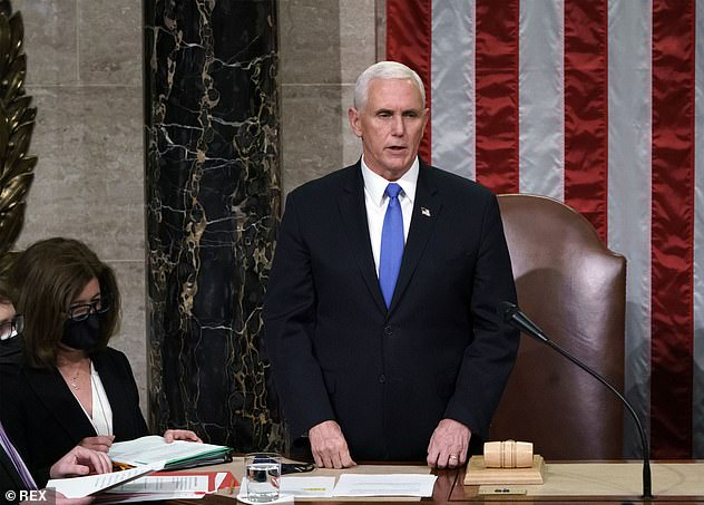 The vice-president, pictured on Thursday, enraged the president and his supporters by refusing Trump's demand that Pence halt the certification of Joe Biden's electoral victory