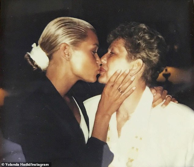 Nice memory: The second photo in her gallery was a beautiful photo of Yolanda and her mother kissing many years ago.