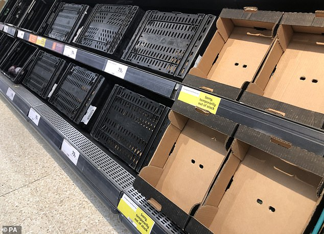This Sainsbury's store in Belfast, pictured yesterday, is among those facing supply chain issues
