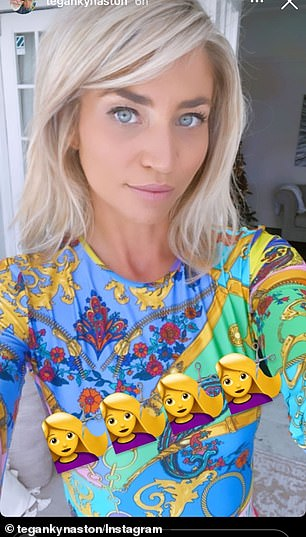Cute!Tegan beamed at the camera for a solo selfie, sporting a very loud multi-coloured shirt and strong make-up to accentuate her striking features