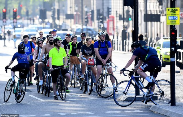 Britain's policing minister said a ride of up to 70 miles is allowed of people get there 'by their own steam'
