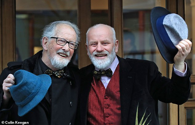 Father-of-three Michael O'Sullivan, 60, right, tied the knot with former butler Matt Murphy, 85, left, in December 2017