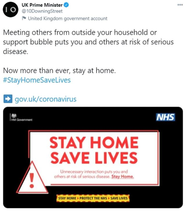 In another ominous sign this morning, Mr Johnson tweeted saying that 'meeting others from outside your household or support bubble puts you and others at risk of serious disease'