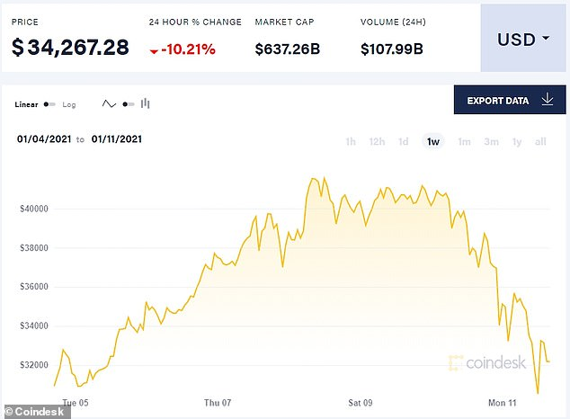 Bitcoin's value dropped by 22% in four days, from $42,000 on Friday to $31,000 on Monday, wiping $200million off its value, but experts say it is a healthy reset