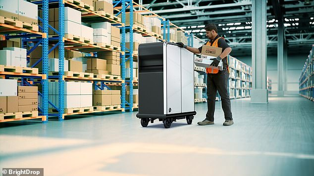 BrightDrop is also working on an electric delivery pallet, EP1, which features the same batter system and will be used by workers to transport packages to and from the van