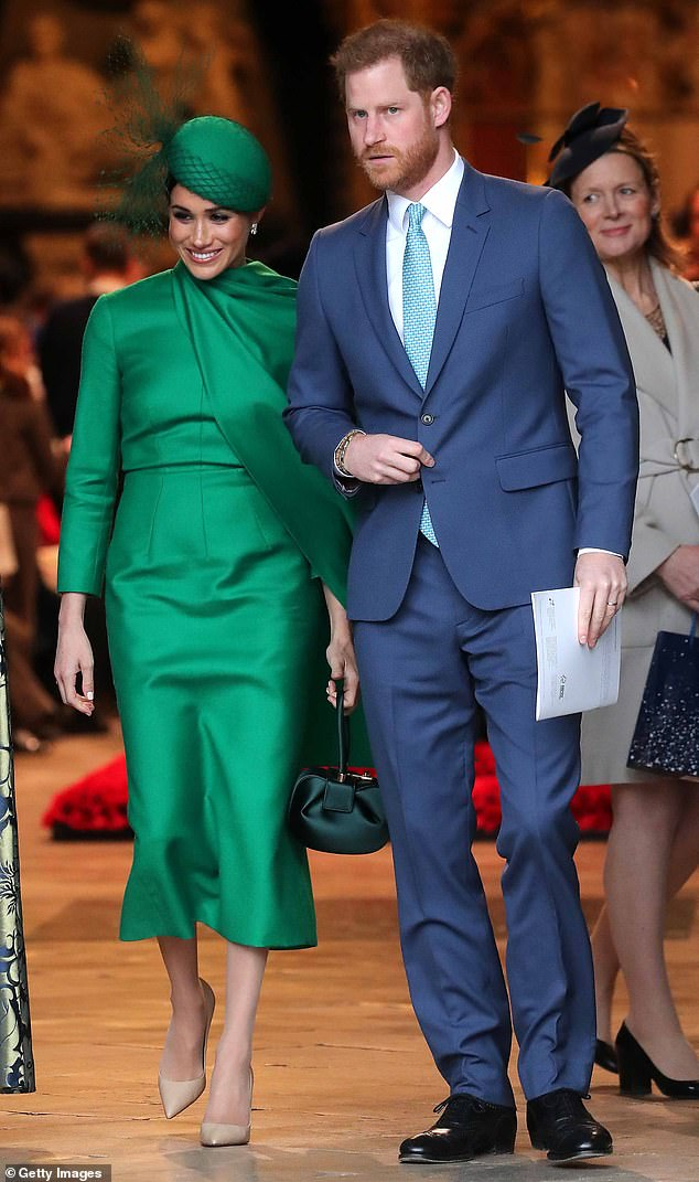 Make a change?  Harry (pictured with Meghan in March) has worn his hair in the same style for years