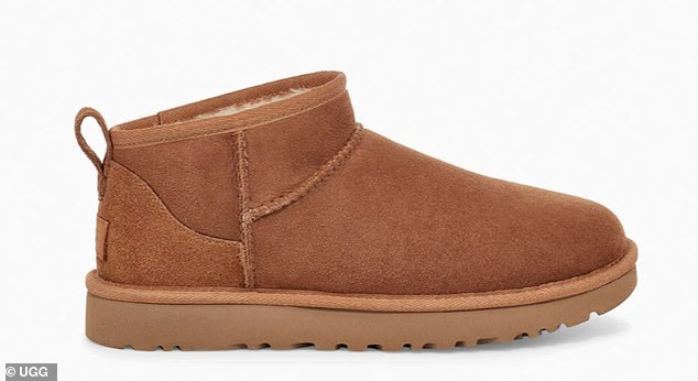The UggClassic Ultra Mini shoe, pictured, is popular with celebrities including Emily Ratajowski, Kendall Jenner and Irina Shayk