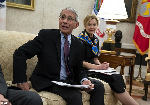 Dr Anthony Fauci and Dr Deborah Birx have warned that a variant of the coronavirus may have mutated in the U.S. and could be responsible for the uptick in cases. Pictured: Birx listens as Fauci speaks during a meeting at the White House, April 2020