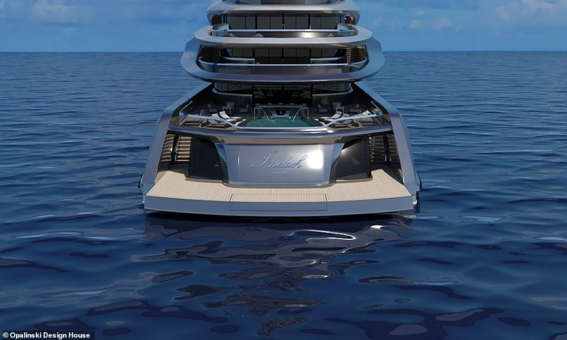The oceangoing super-rich are in a perpetual state of one-upmanship with their fancy vessels – and it's this mindset that sparked Project Indah, a boat that according to its designer,Opalinski Design House, 'has been created to meet the growing demand for megayachts over 100 metres'. Pictured is the stern in cruise mode