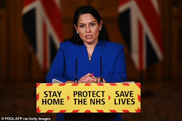 Home Secretary Priti Patel revealed 2.43million people have now had their first dose, up from 2.29m yesterday. Another 20,000 second doses were also added onto the cumulative total