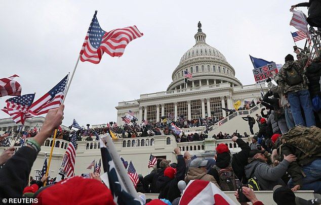 Senator Canavan described  90-95 per cent of Trump supporters who raided the US Capitol last week as peaceful. Pictured are Trump supporters at the US Capitol last week