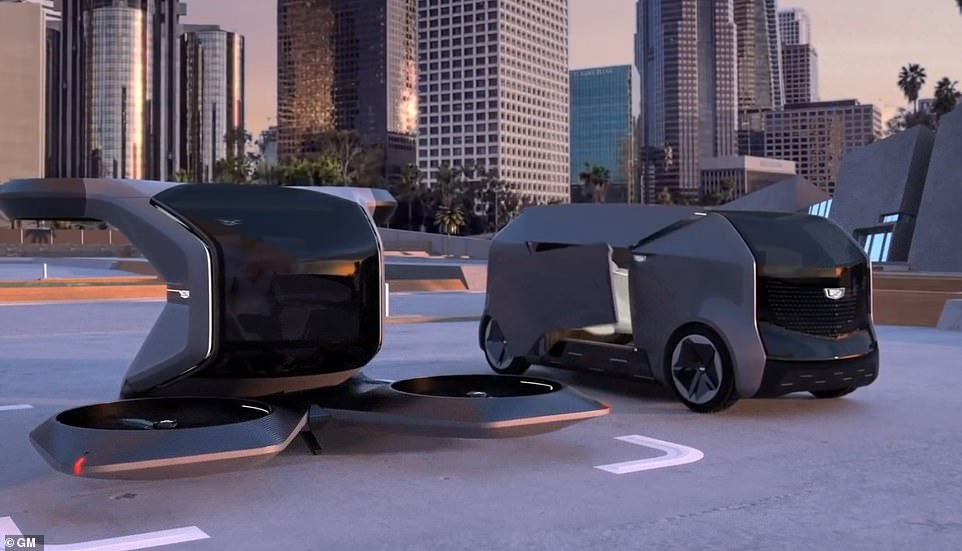 General Motors (GM) shared a concept video of two futuristic vehicles under the Cadillac brand. The first is a flying car (left) and the other is an electric shuttle that are both autonomous