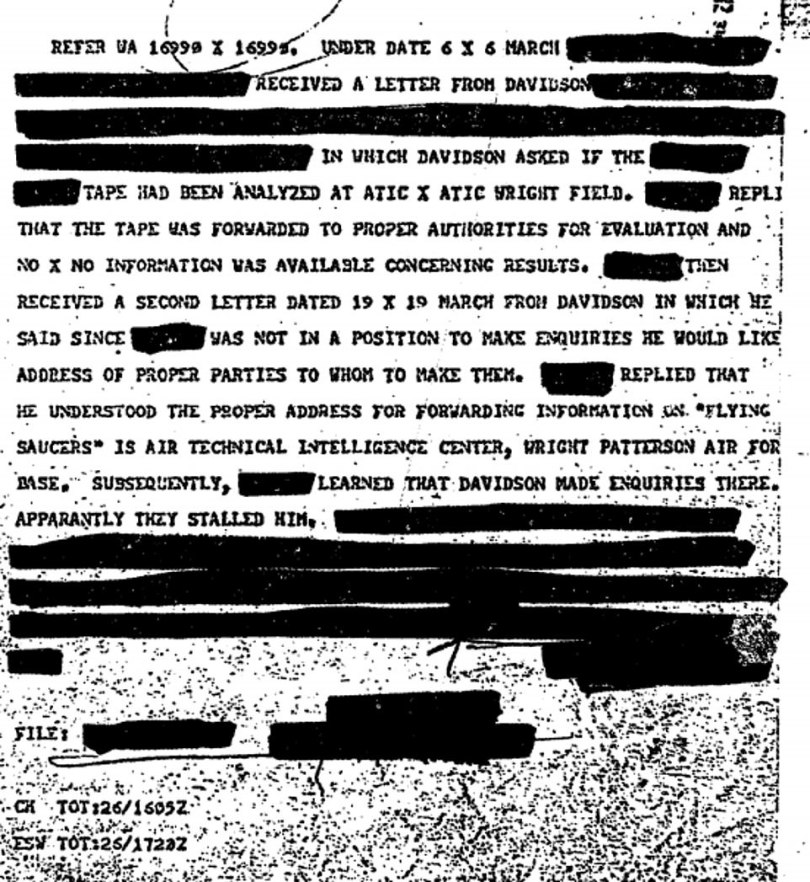 Several of the files appeared to reference the same incident, in which a possible UFO was sighted at the Wright-Patterson Air Force Base in Ohio in 1978. The reports refer to someone named Dr Leon Davidson who made multiple requests for information about the matter and did not appear to be getting any response