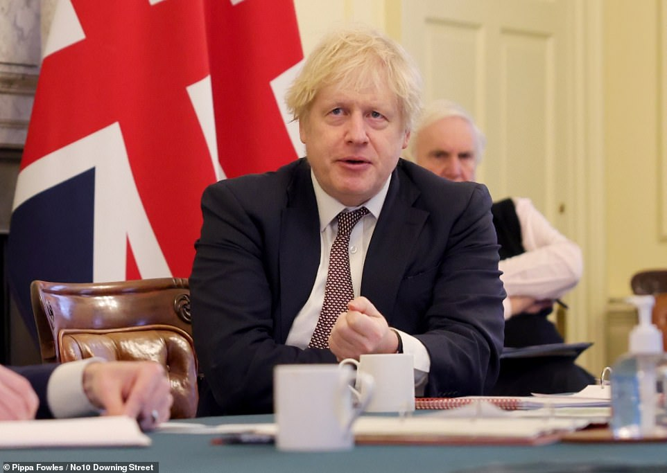 A Downing Street source said Boris Johnson (pictured at a Cabinet meeting yesterday) would need clear data showing problems before he ordered further damaging closures