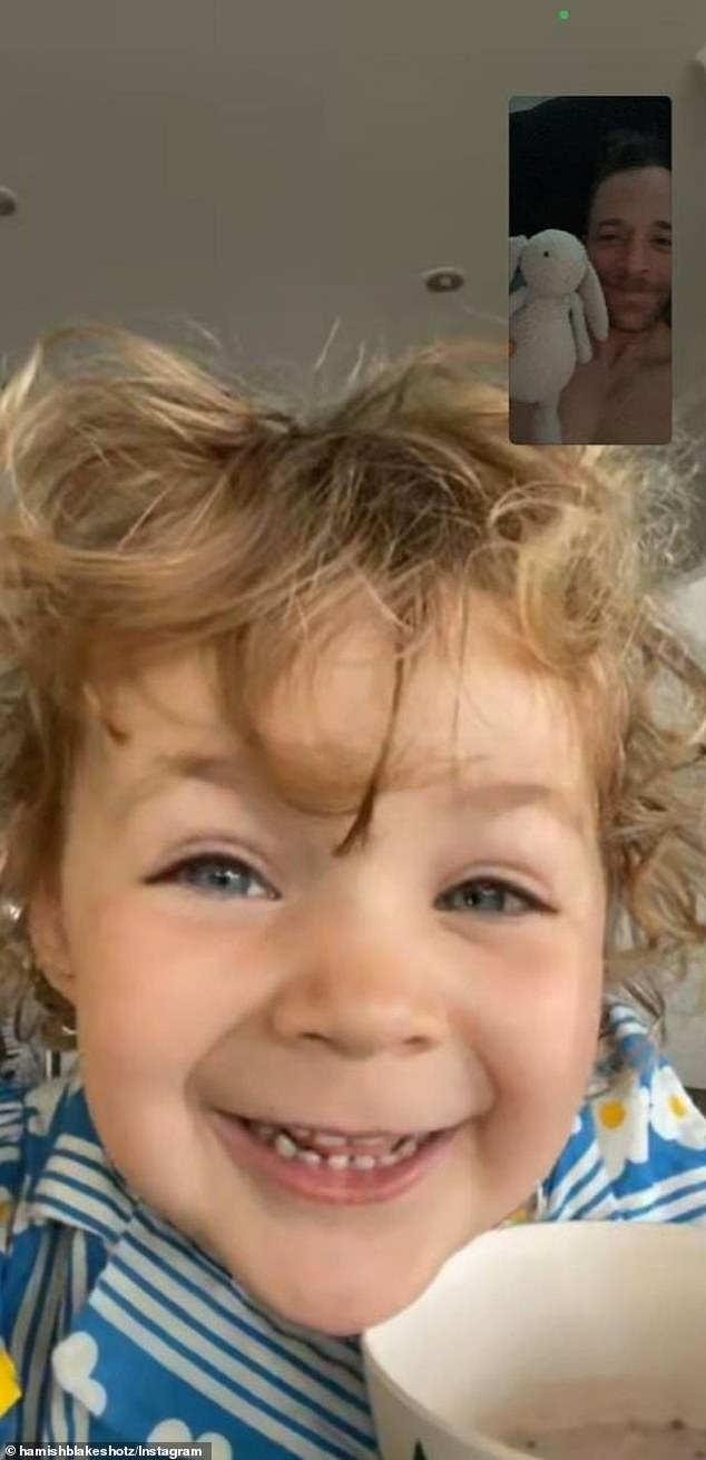 Adorable: Hamish shared a FaceTime with her daughter on Instagram and said she had lent him her bunny to keep him company for their time apart