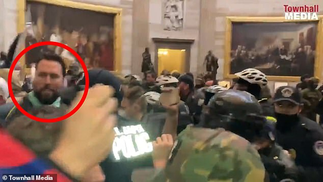 Klete Keller, circled, was among the rioters inside the Capitol on Wednesday