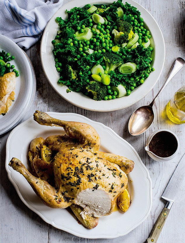 Pictured: A whole roast chicken with veg