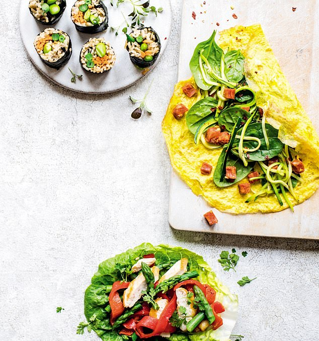 Pictured: A nori wrap, an omelette wrap and a lettuce wrap