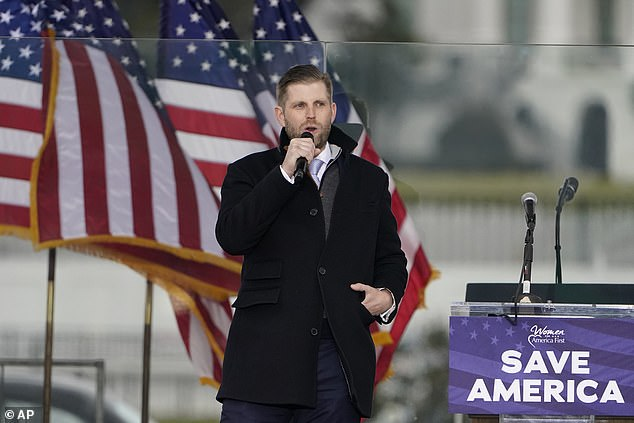 Eric Trump Wednesday told the crowd: 'Show some fight,' urged them to 'march on the Capitol'