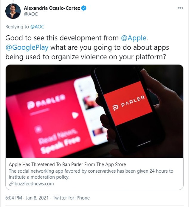Soon after both Apple and Google removed Parler from its services