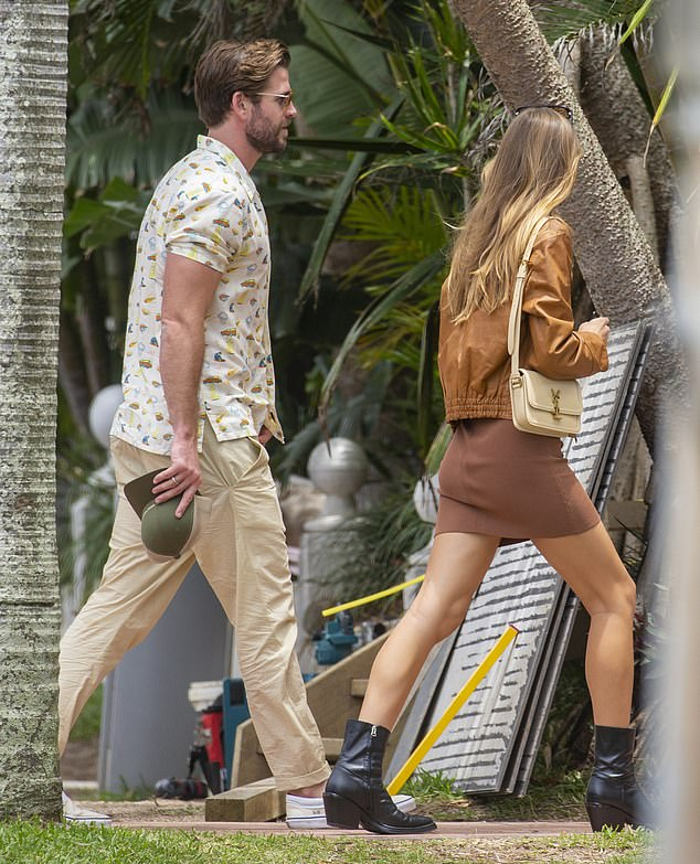Celebration: On Wednesday, Liam Hemsworth and Gabriella Brooks stepped out in Byron Bay to celebrate Liam's 30th birthday with his family