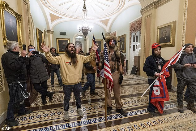 A view of Trump supporters including Jacob Anthony Chansley (in fur hat) who was arrested Saturday and charged with violent entry and disorderly conduct on Capitol grounds