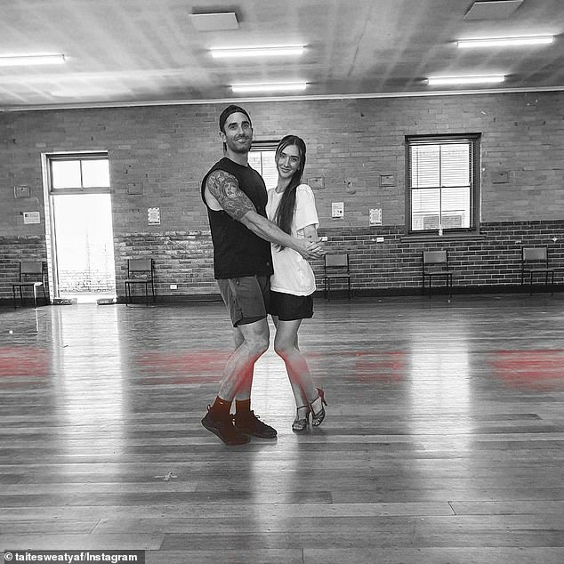 Twosome: On Wednesday, Taite Radley shared a photo of himself with a stunning brunette on the dancefloor in an Instagram post