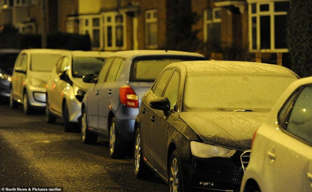 Frozen car windscreens in Newcastle city centre this morning as the region experiences sub-zero temperatures overnight