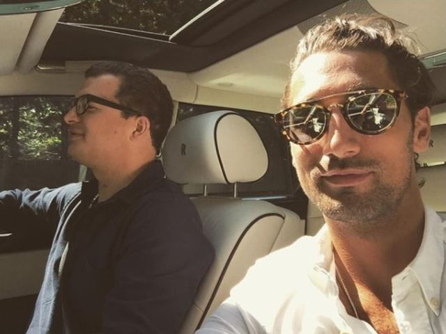 Simon Bowes-Lyon, pictured left with his friend Made In Chelsea star Hugo Taylor in his Rolls Royce, has been warned he faces prison after a sex attack at his ancestral home