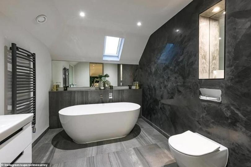 Spacious: The star's home boasts modern bathrooms and marble walls