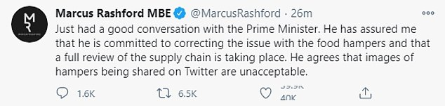Footballer Marcus Rashford disclosed that the Prime Minister had spoke to him today