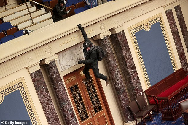Josiah Colt, a 34-year-old from Boise, Idaho - identified as the Trump supporter who was pictured swinging from the Senate balcony - has now been arrested following the Capitol riots