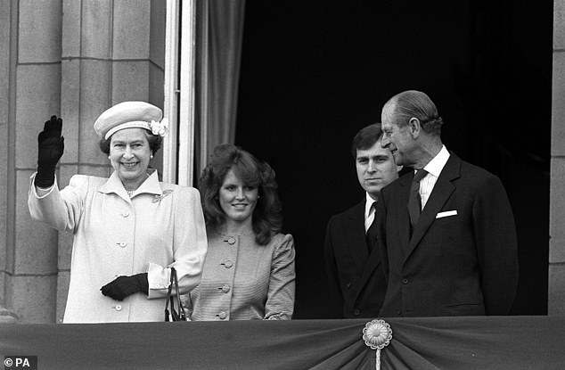 A picture of Sarah Ferguson on the balcony of Buckingham Palace with the Queen and Duke of Edinburgh with Princess Andrew on April 21 1986