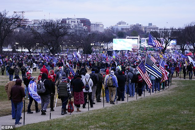 Supporters of US President Donald J. Trump arrive on the National Mall ahead of the 'Stop the Steal' rally Washington DC, USA, 06 January 2021