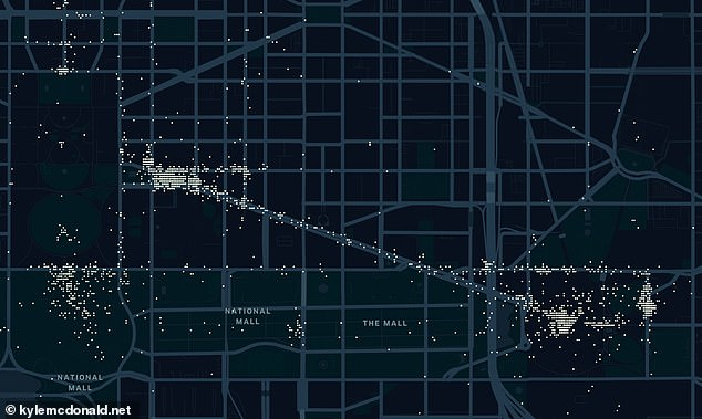 Pictured: A map showing posts on Parler on January 6 as the Capitol riots were taking place. On the left, dots are shown outside the White House. Posts were also made on the National Mall (the road running diagonally down the centre of the map) and around the Capitol (right)