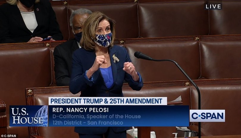 House Speaker Nancy Pelosi was informed by Vice President Mike Pence that he would not invoke the 25th Amendment and remove President Donald Trump from office as the House was taking its first vote Tuesday night on a resolution that urges him to do so