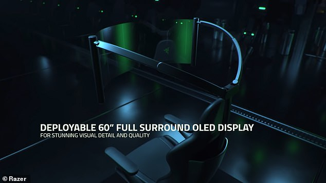 The deployable 60-inch curved OLED display is pulled from the back and unravels in front of the gamer for a panoramic experience ¿ and all they have to do is push a button