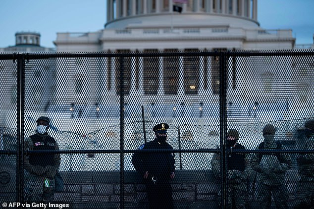A crowd control fence was put up around Capitol Hill, reaching seven feet high